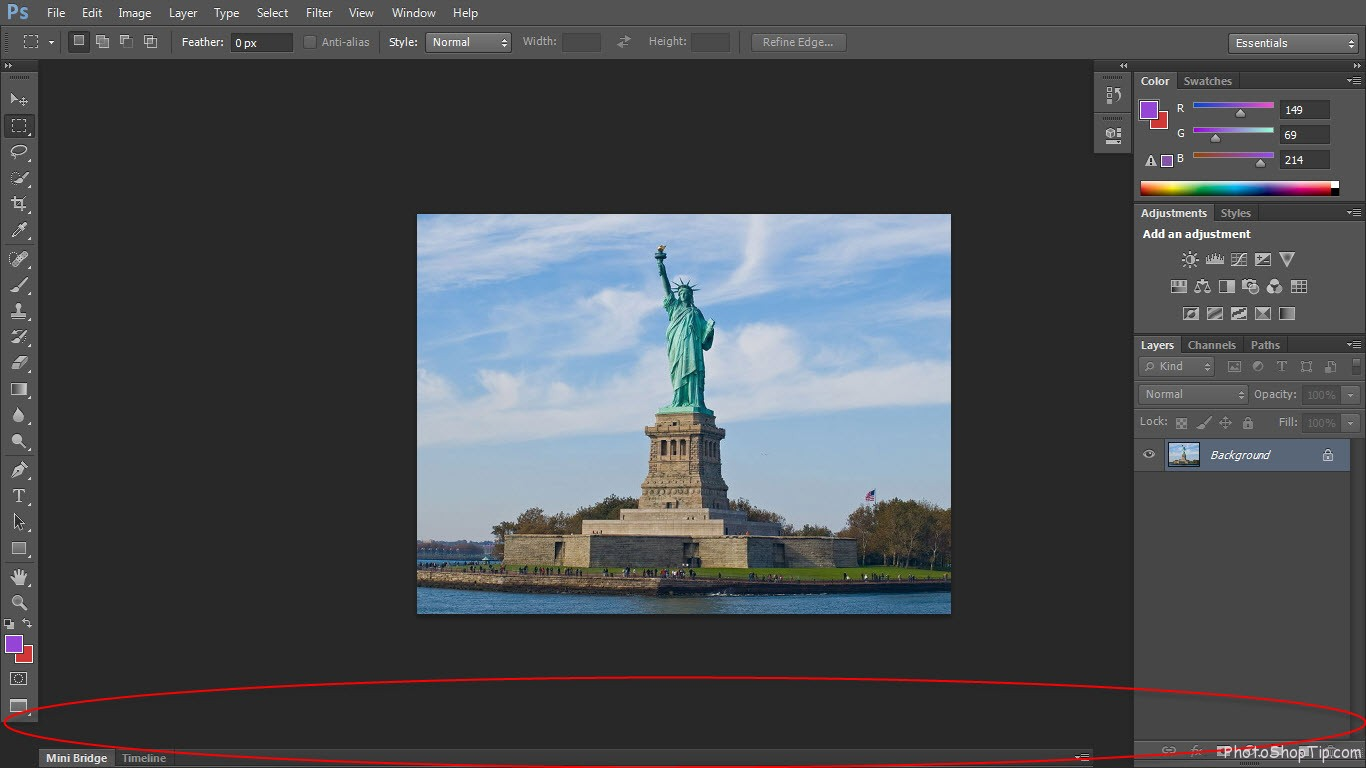 Full Screen Mode With Menu Bar in Photoshop CS6