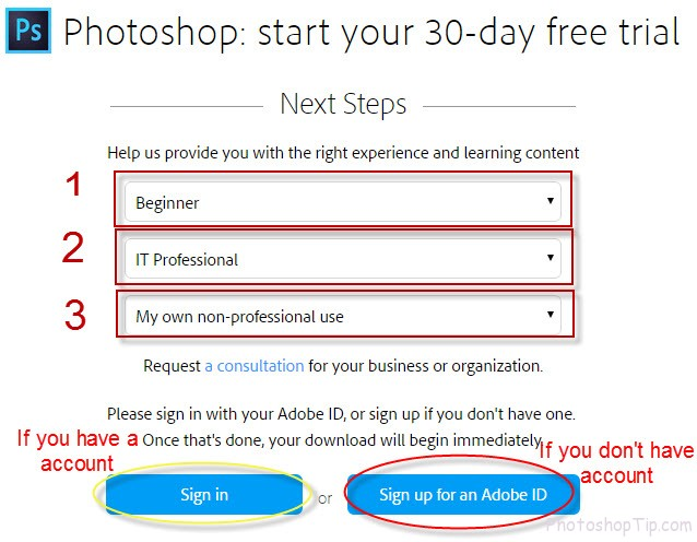 Photoshop: start your 30-day free trial