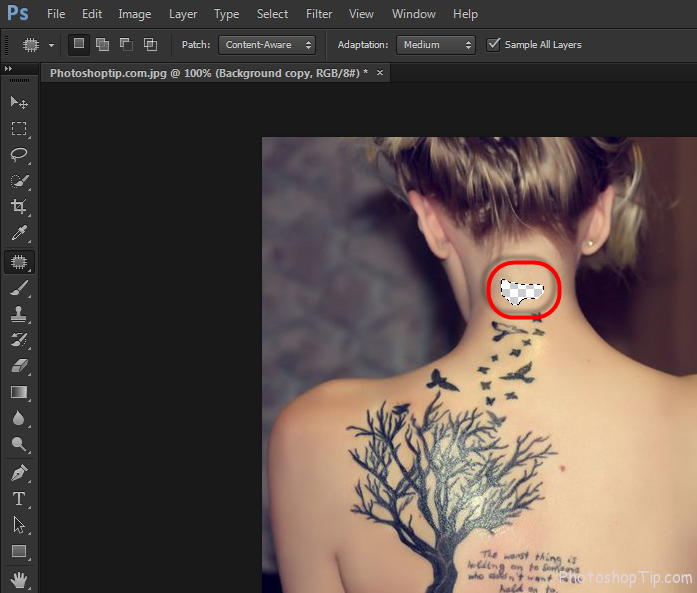 delete tattoo in photoshop