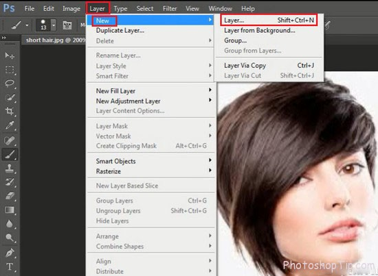 new layer to change hair photoshop