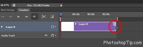 cut down length of video in Timeline Photoshop CC