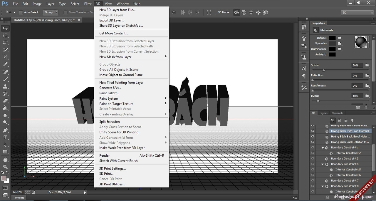 3D features of Photoshop is activated successfully