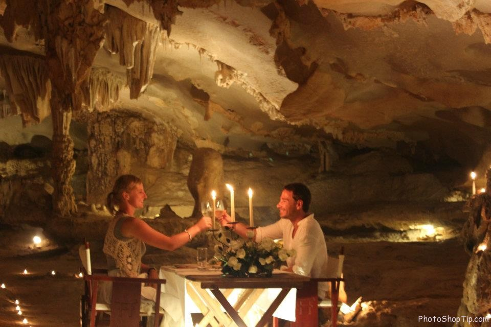 Halong Bay cave dining