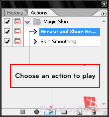 choose an action to play in photoshop
